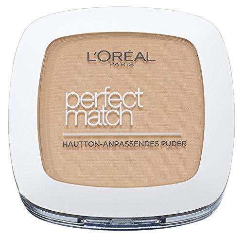 L'Oréal Paris Perfect Match Compact Puder, W5 Golden Sand / Make Up Puder mit individueller Deckkraft und LSF, für jeden Hauttyp / 1 x 9 ml