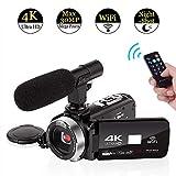 4K Camcorder Videokamera WiFi Camcorder mit Mikrofon Digitalkamera Full HD 30.0MP 3.0 Zoll Touchscreen mit IR Nachtsicht 16X Digital Zoom
