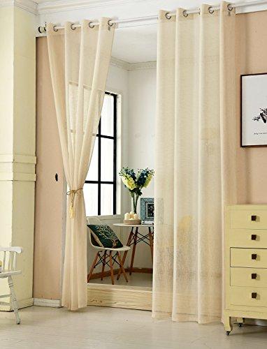 WOLTU #631, 2er Set Gardinen transparent mit Ösen Leinen Optik, Doppelpack Ösenschal Vorhang Stores Voile Fensterschal Dekoschal für Wohnzimmer Kinderzimmer Schlafzimmer
