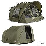 Lucx Leopard Bivvy + Winterskin / 1-3 Mann Angelzelt + Überwurf / Karpfenzelt + Overwrap / Zelt, 10.000mm Wassersäule, Campingzelt