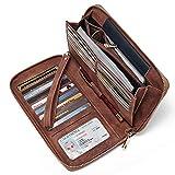 Frauen Geldbörse Nubukleder Groß Geldbeutel Zip Around Clutch Damen Portemonnaie mit Wristlet Braun