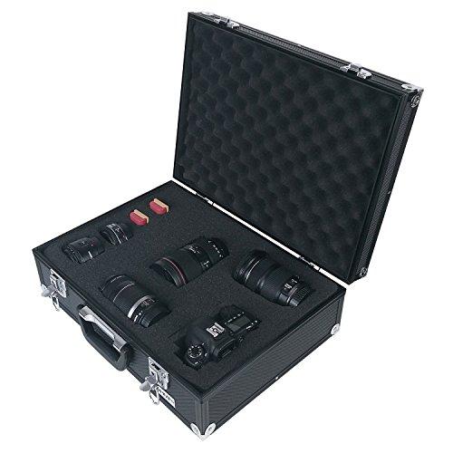 HMF 14501-02 Alu Fotokoffer, Waffenkoffer, Rasterschaumstoff, 46 x 15 x 33 cm, schwarz
