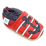 Dotty Fish weiche Leder Babyschuhe mit rutschfesten Wildledersohlen. Kleinkind Schuhe. Nautical rot, weiß und blau Anker Design. Jungen und Mädchen. 18-24 Monate