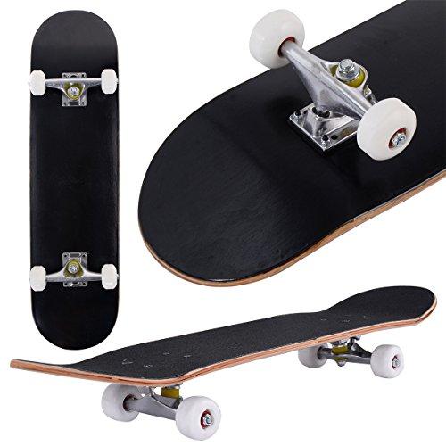 COSTWAY Skateboard Minicruiser Komplettboard Longboard Funboard Holzboard Ahornholz Farben zur Wahl 79 x 20 cm (Schwarz)