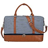 S-ZONE Frauen Trim Strap Duffle Bag Weekender Reise ¨¹bernachtung Leinwand PU Leder Carry-on Schulter Tote