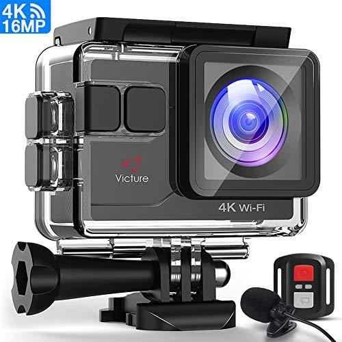 Victure Action Cam 4K 16MP Kamera 40M Wasserdichte Unterwasserkamera Digitale WiFi actioncam mit EIS Sensor, 2.4G Fernbedienung, externem Mikrofon und Montage Zubehör Kit