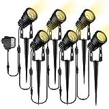Gartenbeleuchtung, ECOWHO 6er Set 3W Gartenleuchte mit Erdspieß, IP65 Wasserdicht LED Gartenstrahler mit Stecker, Warmweiß Scheinwerfer Gartenlampe Wegbeleuchtung Spot Außenbeleuchtung für Outdoor