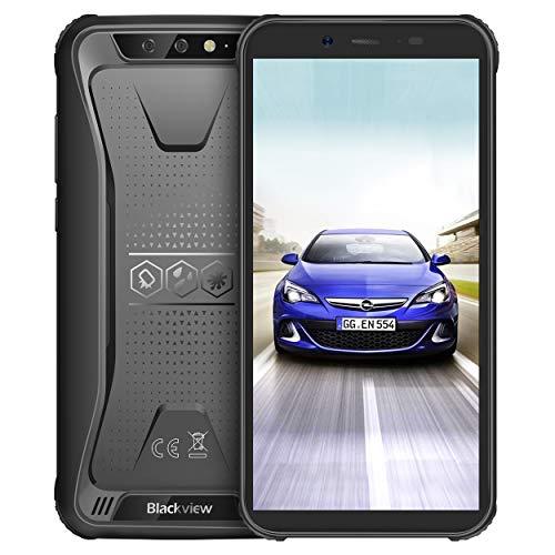 Blackview BV5500 Outdoor Smartphone Ohne Vertrag, Dual SIM 5.5 Zoll Display IP68 Wasserdicht Stoßfest, 4400mAh Batterie, 2GB RAM+16GB interner Speicher, Android 8.1 System mit WiFi GPS NFC Schwarz