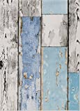 ecosoul Wachstuchtischdecke Scrapwood Breite 140 cm abwaschbar grau weiß Länge wählbar hellblau Holz-Optik Outdoor-Tischdecke Länge wählbar (2)