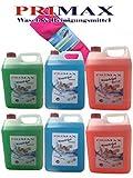 Primax Set 14 bestehend aus 2 x 5 Ltr. Flüssigwaschmittel blau und 2 x grün + 1 x 5 Ltr. Colorwaschmittel orange + Microfasertuch gratis