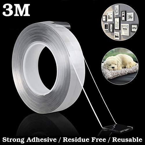 Doppelseitiges Klebeband Extra Stark, Hochleistungs-Montageband, rückstandsfrei entfernbar, wiederverwendbar, Nano-Magic-Tape 3M