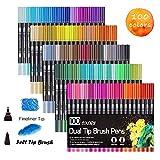 100 Farben Marker Set, Pinselstift Set Fasermaler, Aquarell Pinselstifte Marker Stift Set Doppelspitze Textmarker, für Studenten Manga Kunstler Sketch Marker Stifte Set HO-100B