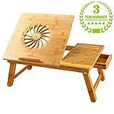Große Größe Laptoptisch Betttablett Nnewvante Betttisch einstellbar Bambus faltbar Frühstück Rechts- und Linkshänder Bettschreibtisch kippbar mit Schublade bis zu 18 Zoll