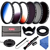 58MM Filter Set Beschoi 6Pcs Filter Kit (CPL+ND4+ND8)+ Verlauf Farbe Filter( Orange Blau Grau )+ Filter Zubehör Kit