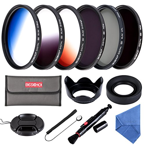 58MM Filter Set Beschoi 6Pcs Filter Kit (CPL+ND4+ND8)+ Verlauf Farbe Filter( Orange Blau Grau )+ Filter Zubehör Kit