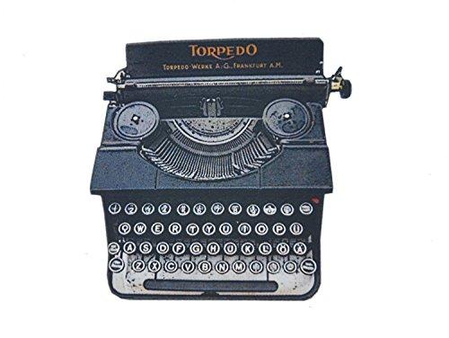 Antike Schreibmaschine Laserprint Brosche Anstecknadel Holz Schreibmaschine