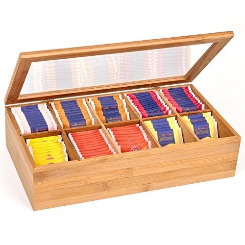 GRÄWE Teebox aus Bambus - 10 Fächer - mit Sicht-Deckel - 36 × 20 × 9 cm