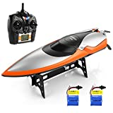 HELIFAR RC Speedboot RC Boot 2.4Ghz Funkferngesteuertes Boot RC Rennboot 20km/h Wasserdicht mit 2 Batterie Geeignet für Vater mit Kinder Jungen / Mädchen mit Freunden