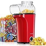 Aicook Popcornmaschine, 1400W Automatische Popcorn Maker mit Großer Kapazität, Heißluft Ohne Öl, Abnehmbarem Deckel und BPA-Frei