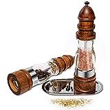 Salz und Pfeffermühlen set Holz Gewürzmühle Set mit Salzmühle Gewürzmühle Verstellbares Keramikmahlwerk und Acryl für Salz, Pfeffer oder Andere Gewürz 2 Stück (2 Stück)