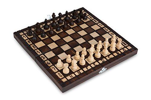 Schachspiel aus Holz Handgefertigtes mit Figuren Schachbrett edel Einklappbar Holz-Schachspiel Schachkassette Komplettes Schachfiguren-Set mit Geschenkbox(35 x 35 cm)
