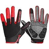 Kutook Herren Fahrradhandschuhe Mit Gel Vollfinger MTB Handschuhe für das Radfahren(Rot,XL)