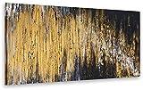 exclusive-gallery I Monica Mirafiori I Gemälde Black & Gold I 140x70cm   XXL Leinwandbild handgemalt   Acrylgemälde auf Leinwand   Sehr großes Acrylbild auf Keilrahmen