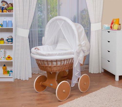 WALDIN Baby Stubenwagen-Set mit Ausstattung,XXL,Bollerwagen,komplett,44 Modelle wählbar,Gestell/Räder lackiert,Stoffe weiß