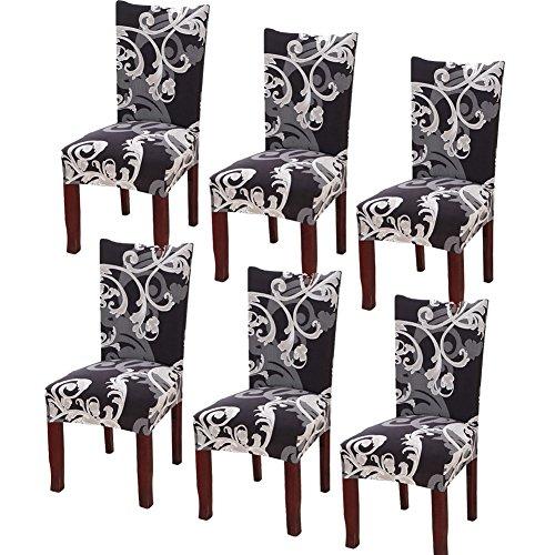 YISUN Universal Stretch Stuhlhussen 4er 6er Set Stuhlbezug für Stuhl Esszimmer Schwarzes