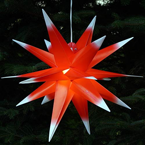 Guru-Shop 3D Außenstern, Weihnachtsstern, Faltstern Kaspar Rot-Weiß mit LED, Ø Ca.55 cm, Plastik, Weihnachtsstern, Adventsstern