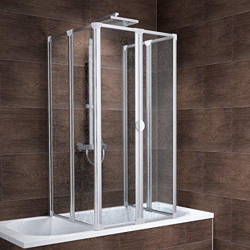 Schulte Rundum-Duschabtrennung München, 2 x 104x140 cm, 2x3-teilig faltbar, Kunstglas Tropfen, Profilfarbe alu-natur, geschlossene Duschkabine für Badewanne