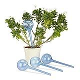 Relaxdays Bewässerungskugeln, 4er Set, Dosierte Bewässerung, 2 Wochen, Versenkbar, Deko, Topfpflanzen, Kunststoff, Blau Bewässerungskugel, PP, Metall mit Zinklegierung