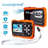 FLAGPOWER Kinder Kamera Wasserdicht mit 16GB MicroSD-Speicherkarte, Unterwasser Kamera Camcorder für Kinder ab 3 Jahre, Digitalkamera mit 4-Fach Digitalzoom/ 12MP HD Fotos/ 720P HD Videofunktion/ 2' TFT LCD Bildschirm (Wasserdicht bis 3 Meter)