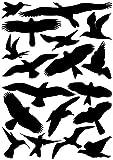 18 Vogelaufkleber für Fenster, Wintergärten, Glashäuser zum Vogelschutz, Warnvogel Vogel-Silhouetten, Schutz vor Vogelschlag, Fensterschutz
