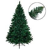 BB SPORT Christbaum künstlicher Weihnachtsbaum Tannenbaum in verschiedenen Größen und Farben inkl. Standfuß künstliche Tanne mit Klappsystem, Farbe:dunkelgrün, Höhe:150 cm (530 Spitzen)