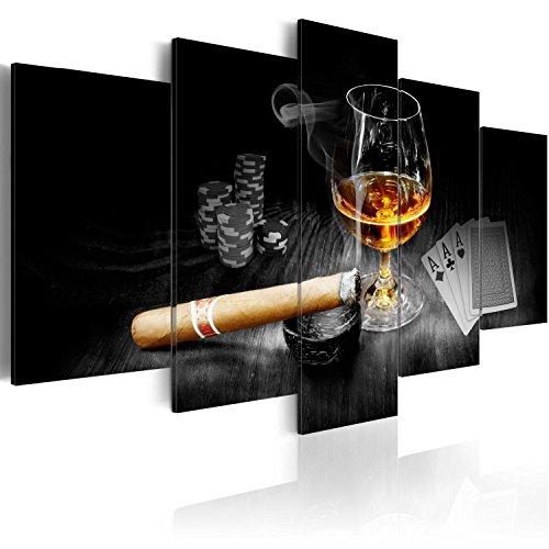 murando - Bilder 200x100 cm - Leinwandbilder - Fertig Aufgespannt - Vlies Leinwand - 5 Teilig - Wandbilder XXL - Kunstdrucke - Wandbild - Alkohol Zigarre Poker Whisky i-A-0101-b-o