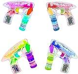 Partyjoker 4 Stück Seifenblasen Pistole mit LED | Sound | Flüssigkeit Seifenblasen Maschine Bubble-Gun für Kinder Geburtstag Geschenk