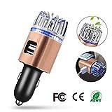 Yuede Luft-Reiniger/-Ionisator für das Auto Luftreiniger,Dual USB-Kabel entfernt Rauch,Bad Gerüche,Staub,Pollen,Bakterien und Allergene antimikrobiellen Parfum Lufterfrischer w/Gerät Ladegeräte