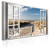 murando - Bilder Fensterblick 120x80 cm - Leinwandbilder - Fertig Aufgespannt - Vlies Leinwand - 1 Teilig - Wandbilder XXL - Kunstdrucke - Wandbild - Fenster Insel Meer See Strand Himmel a c-C-0179-b-a