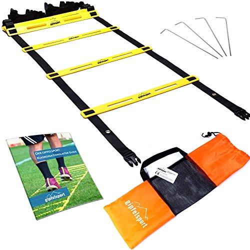 Koordinationsleiter von gipfelsport - Trainingsleiter Set, 4m mit Tasche und Heringen   Geschwindigkeitsleiter   Agility Speed Ladder für Fussball, Fitness, Sport, Handball, Football   + Gratis eBook