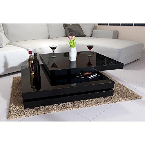 Couchtisch Hochglanz 60x60cm Variante - Weiß/Schwarz