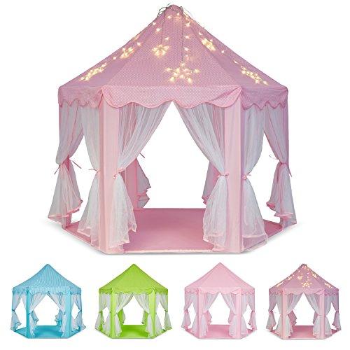 Schramm Prinzessinenzelt in 3 Farben Prinzessin Zelt wählbar mit LED Sternen Beleuchtung Kinder Spielzelt auch als Bällezelt Bälle Kinder Zelte Spielschloß Spielzelte Spielhöhle, Farbe:Rosa mit Beleuchtung