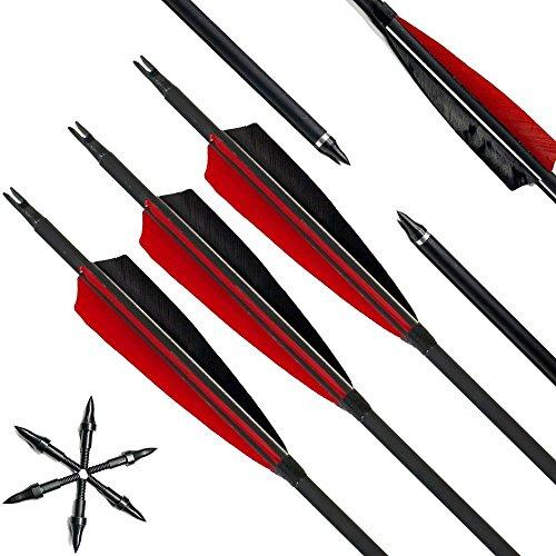 Narchery Pfeile, 31 Zoll Bogenpfeile Carbon Pfeile für Bogenschießen mit 5' Rot und Schwarz Naturfeder, Jagdpfeile für Bogen, Recurvebogen, Langbogen und Traditionellen Bogen