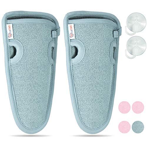 NEU  LoWell  - Peelinghandschuh Premium für Körper und Gesicht (2 Stück) – Wasch-Handschuh Dusche, Sauna und Dampfbad - grobe Fasern – Wellness Peeling für Ihre Haut – Massagehandschuh (Grau)