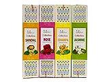 Räucherstäbchen Set'4 Collection', indische Räucherstäbchen in 4 Premium Sorten Sandelholz, Rose, Champa und Jasmin, toller Mix mit langer Brenndauer von ca. 40min, ideal auch als Geschenk