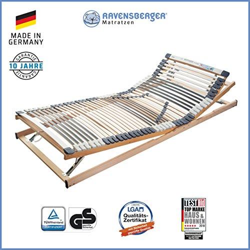 RAVENSBERGER MEDIMED 44-Leisten 7-Zonen-BUCHE-Lattenrahmen | Verstellbar | MADE IN GERMANY - 10 JAHRE GARANTIE | TÜV/GS + LGA/QS - zertifiziert 140x200 cm