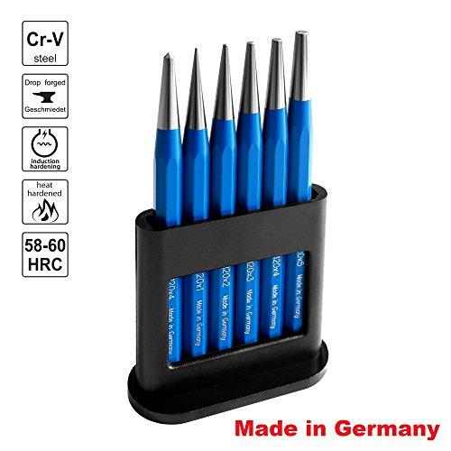 S&R Durchtreiber Satz // Made in Germany // 6-tlg.: 1, 2, 3, 4, 5 mm + 1x Körner Ø4 mm aus Chrom-Vanadium Stahl, Durchschlag gehärtet