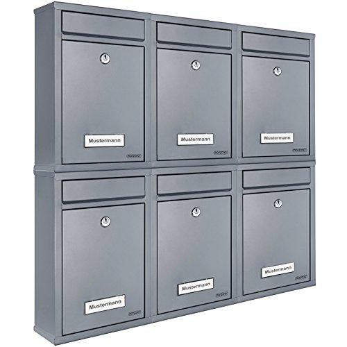 6x Briefkasten Set Wandbriefkasten Briefkastenanlage Postkasten Stahl Mailbox silber