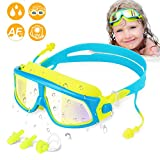 WOTEK Kinder Schwimmbrillen Schwimmbrille für Kinder Taucherbrille Swimming Goggles Kein Leck-Mit UV-Schutz und Anti-Beschlag-Beschichtung Linse 2xOhrstöpsel,1x Nasenclips Geschenk für Mädchen Jungen