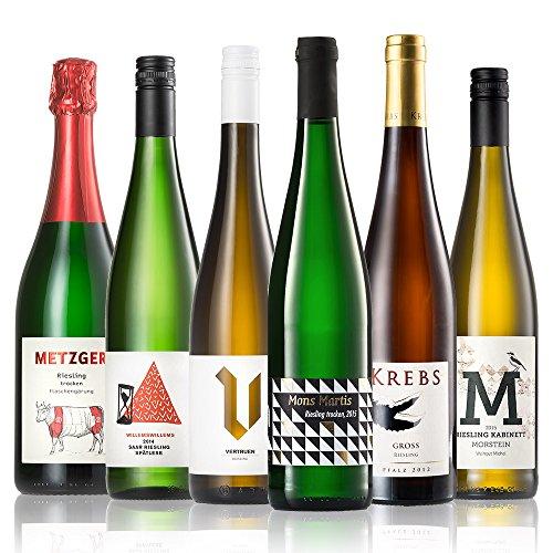 GEILE WEINE Weinpaket RIESLING (6 x 0,75l) Deutscher Weißwein von Winzern der Mosel, Saar, Rheingau und Pfalz